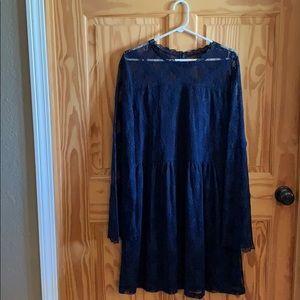 XXL Navy Long Sleeve Lace Dress!